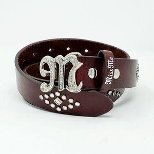 Miss Me Studded Embellished Faux Leather Belt M/L